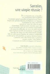 Sarcelles 50 Ans Apres, Une Utopie Aboutie? - 4ème de couverture - Format classique