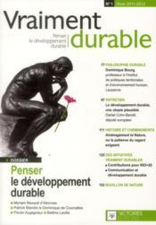 Vraiment durable t.1 ; penser le développement durable - Couverture - Format classique