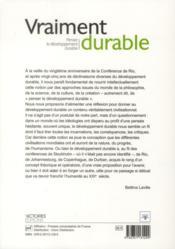Vraiment durable t.1 ; penser le développement durable - 4ème de couverture - Format classique