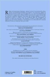 REVUE CULTURES & CONFLITS ; migrations climatiques - 4ème de couverture - Format classique