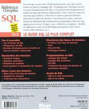 Sql - 4ème de couverture - Format classique