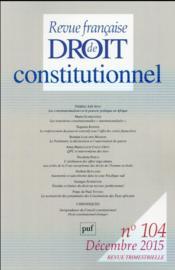 Revue Francaise De Droit Constitutionnel N.104 - Couverture - Format classique