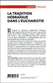 La tradition hébraïque dans l'eucharistie - 4ème de couverture - Format classique
