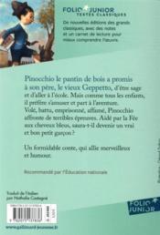 Les aventures de Pinocchio ; histoire d'un pantin - 4ème de couverture - Format classique