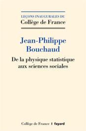 De la physique statistique aux sciences sociales - Couverture - Format classique