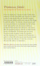 Une enquête de Francesca Cahill t.6 ; promesse fatale - 4ème de couverture - Format classique