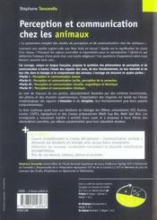 Perception et communication chez les animaux - 4ème de couverture - Format classique