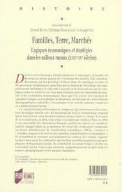 Familles, terre, marches logiques economiques et strategies dans les milieux ruraux - 4ème de couverture - Format classique