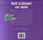 Petit éléphant est malin - 4ème de couverture - Format classique