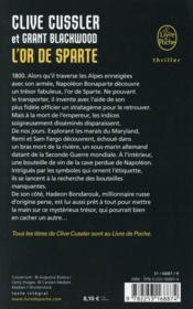 L'or de Sparte - 4ème de couverture - Format classique
