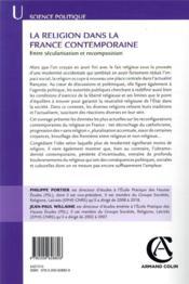 La religion dans la France contemporaine ; entre sécularisation et recomposition - 4ème de couverture - Format classique