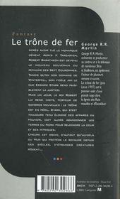 Le trône de fer T.1 - 4ème de couverture - Format classique