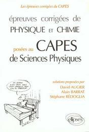 Epreuves corrigees de physique chimie au capes de sciences physiques (1993-1995) - Intérieur - Format classique