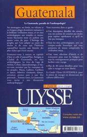 Guide Ulysse ; Guatemala - 4ème de couverture - Format classique