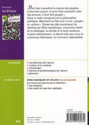 Le prince, de Nicolas Machiavel - 4ème de couverture - Format classique