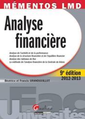 Analyse financière (édition 2012-2013) - Couverture - Format classique