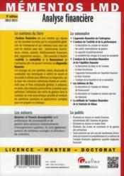 Analyse financière (édition 2012-2013) - 4ème de couverture - Format classique