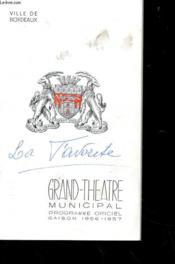 Programme - Grand-Theatre De Bordeaux - Programme Officiel - 1956-1957 - Couverture - Format classique