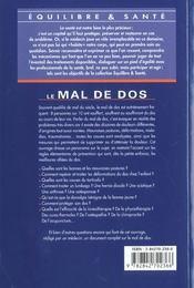 Le Mal De Dos - 4ème de couverture - Format classique