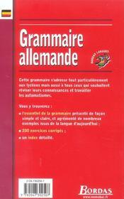 Grammaire allemande - 4ème de couverture - Format classique