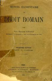 Manuel Elementaire De Droit Romain - Couverture - Format classique