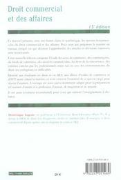 Droit Commercial Et Des Affaires - 4ème de couverture - Format classique