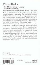 La philosophie comme maniere de vivre - entretiens avec jeannie carlier et arnold i. davidson - 4ème de couverture - Format classique