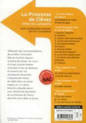 CLASSICO LYCEE ; la princesses de Clèves, de Madame de Lafayette - 4ème de couverture - Format classique