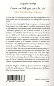 Croire Au Dialogue Pour La Paix - 4ème de couverture - Format classique