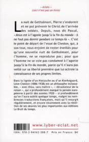 La nuit de Getshémani ; essai sur la philosophie de Pascal - 4ème de couverture - Format classique