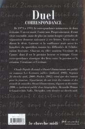 Duel correspondance - 4ème de couverture - Format classique
