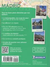 Le guide vert week-end ; Madrid - 4ème de couverture - Format classique