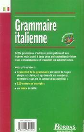 Grammaire italienne - 4ème de couverture - Format classique