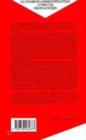 Les Categories De La Propriete Intellectuelle A L'Epreuve Des Creations Genetiques - 4ème de couverture - Format classique