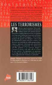 Les terrorismes - 4ème de couverture - Format classique