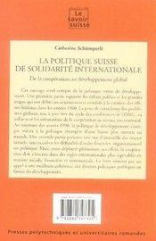 La politique suisse de solidarité internationale. de la coopération au développement global - 4ème de couverture - Format classique