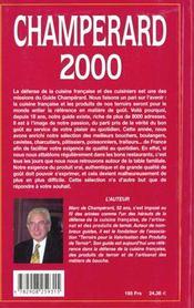 Guide Champerard 2000 : Guide Gastronomique De France - 4ème de couverture - Format classique