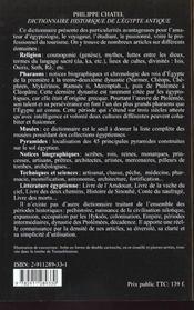 Dictionnaire Historique De L'Egypte Antique - 4ème de couverture - Format classique