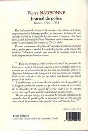 Journal de police t.1 ; (1701-1733) - 4ème de couverture - Format classique