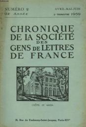 CHRONIQUE DE LA SOCIETE DES GENS DE LETTRES DE FRANCE N°2, 94e ANNEE ( 2e TRIMESTRE 1959) - Couverture - Format classique