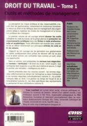 Droit du travail t.1 ; outils et méthodes de management - 4ème de couverture - Format classique