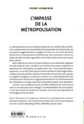 L'impasse de la métropolisation - 4ème de couverture - Format classique