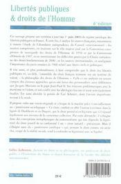 Libertes Publiques Et Droits De L'Homme - 4ème de couverture - Format classique