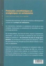 Protocoles anesthésiques et analgésiques en ambulatoire - 4ème de couverture - Format classique