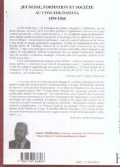 Jeunesse, Formation Et Societe Au Congo-Kinshasa, 1890-1960 - 4ème de couverture - Format classique