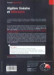 Algèbre linèaire et bilinèaire - 4ème de couverture - Format classique