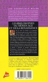 La Philosophie De La Renaissance Et Du Moyen Age - 4ème de couverture - Format classique