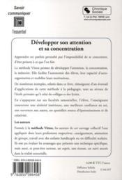 Développer son attention et sa concentration - 4ème de couverture - Format classique