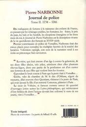Journal de police t.2 ; (1734-1746) - 4ème de couverture - Format classique