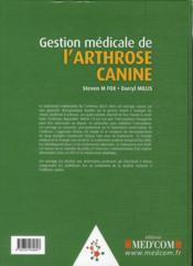 Gestion médicale de l'arthrose canine - 4ème de couverture - Format classique